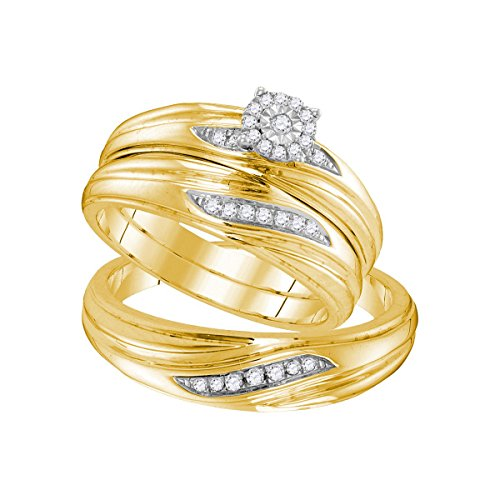 Sizes - L = 5, M = 11 - Yellow-tone 925 Sterling Silver Trio His & Hers Round Diamond Solitaire Matching Bridal Wedding Ring Band Set (1/5 Cttw) by Sonia Jewels