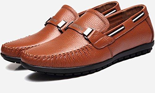 CSDM nuovo cuoio genuino casuale che guida i pattini degli uomini uomini grandi di formato scarpe singole casuali , yellow , 39
