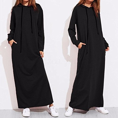 XIU*RONG Jersey De Manga Larga Con Capucha Hoodie Vestido black