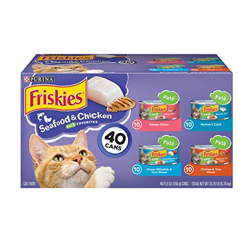 - Purina Friskies Pate Wet Cat Food Variety Pack; Seafood & Chicken Pate Favorites - (40) 5.5 oz. Cans