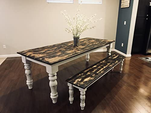 Amazing Amazon Com Handmade Heirloom Farmhouse Table W Bench 2 Evergreenethics Interior Chair Design Evergreenethicsorg