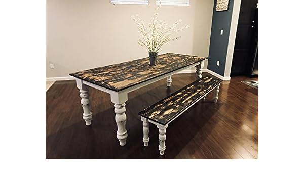 Peachy Amazon Com Handmade Heirloom Farmhouse Table W Bench 2 Frankydiablos Diy Chair Ideas Frankydiabloscom