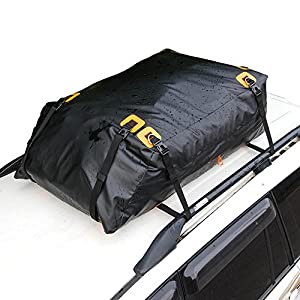 MARKSIGN 100% Waterproof Car Rooftop Cargo Carrier Bag, 14.5 cu ft, Waterproof Zipper and Rain Flap, 8x1.5 inch Nylon UV Proof Straps Fits Vehicles with Side Rails or Cross Bars, Aerodynamic Design