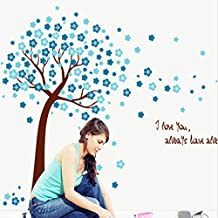Beautiful Blue Peach Blossom Tree Wall Decal Home Sticker Paper Removable Living Room Bedroom Art Picture DIY Mural Girls Boys kids Nursery Baby Playroom Decoration + Gift Colorful Butterflies