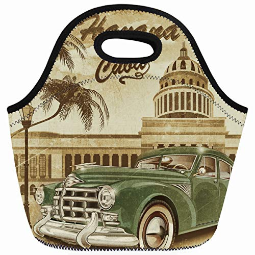Ahawoso Reusable Insulated Lunch Tote Bag Havana Cuba Retro 1950s 1960s Zippered 10X11 Neoprene School Picnic Gourmet - 60s Flute