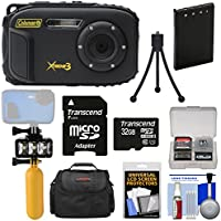 Coleman Xtreme3 C9WP Shock & Waterproof 1080p HD Digital Camera (Black) with 32GB Card + Battery + Diving LED Video Light + Buoy Handle + Case Kit