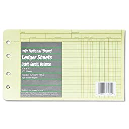 National Brand - Extra Sheets for Four-Ring Ledger Binder, 5 x 8-1/2, 100/Pack 14-055 (DMi PK