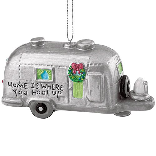 Silver RV Camper Trailer Camping Christmas Ornament]()