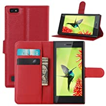 Fettion Blackberry Leap Case, Premium PU Leather Wallet Cases Flip Cover with Stand Card Holder for Blackberry Leap Smartphone (Wallet - Red)