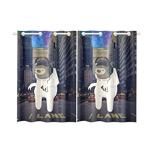 your-fantasia Funny Astronaut Animal Window Curtain Kitchen Curtain Two Pieces 26 x 39 inches by your-fantasia