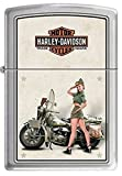 """Zippo """"Harley Davidson-WWII Army Pinup"""" Brushed Chrome Lighter, 9939"""