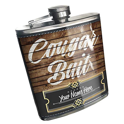 Neonblond Flask Painted Wood Cougar Bait Custom Name Stainless Steel