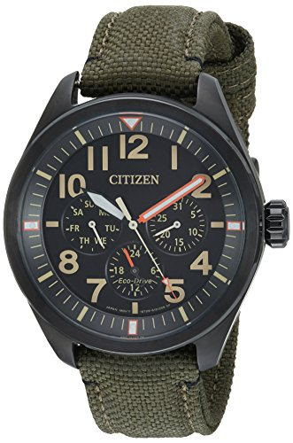 Citizen Men's 'Military' Quartz Stainless Steel and Nylon Casual Watch, Color Green (Model: BU2055-16E) - Eco Drive Watch