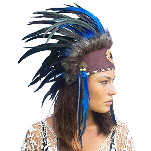 Sexy Male Indian Costumes (Unique Feather Headdress- Native American Indian Inspired- Handmade by Artisan Halloween Costume for Men Women with Real Feathers - Dark Blue with Stone)