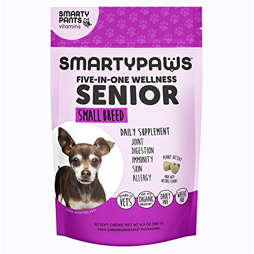 Cheap Smartypaws Dog Supplement Chew- Glucosamine & Chondroitin + Msm For Joint Support, Fish Oil Omega 3 (Epa & Dha), Probiotics, Organic Turmeric: Senior Small Breed – By Smartypants Vitamins – 60 Ct