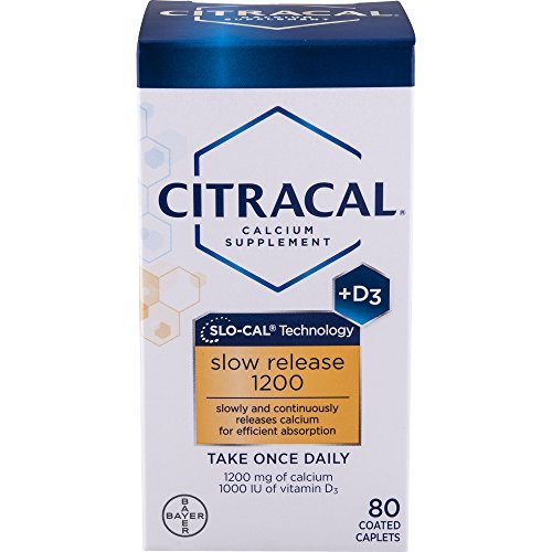 Citracal Slow Release 1200, 1200 mg Calcium Citrate and Calcium Carbonate Blend with 1000 IU Vitamin D3, Bone Health Supplement for Adults, Once Daily Caplets, 80 Count For Sale