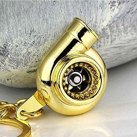 ONEVER Real del silbido de Sonido Turbo Llavero de Rotacišn del Plato Modelo Pieza de Automšvil turbina del turbocompresor Llavero Anillo -Golden: ...