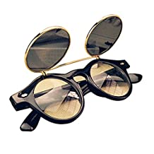 Gleader Cute Unisex Steampunk Goth Goggles Glasses Retro Flip Up Round Sunglasses