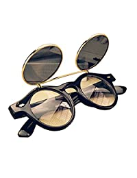 Gleader Cute Unisex Steampunk Goth Goggles Glasses Retro Flip Up Round Sunglasses