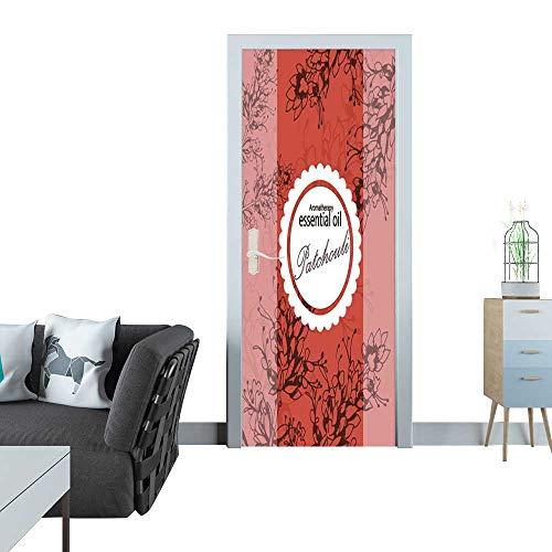 Anmaseven Glass Door Sticker Decals Label for Essential Oil of Patchouli Sticker for Door 30x79(77x200 cm)
