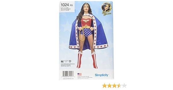 Simplicity Patrón 1024 R5 (14-16-18-20-22) Wonder Woman Disfraz de ...