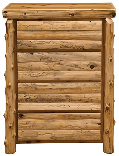 Fireside Lodge Furniture 12022-P Cedar Four Drawer Chest with Half Log Drawer, Premium Line, Traditional Cedar