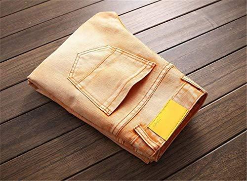 Fit W42 Uomo Jeans Stonewash Buche Casual orangegelb Classic 6 Dritto Biker W29 Pantaloni Coscia Marea Colori Distrutto Slim Strappato 10 Ragazzo Denim Cher O6xUrOq