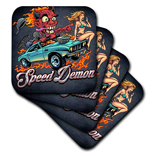3dRose Flyland Designs - Dark, Devil, Cartoon, Car, Illustration - Speed-racing demon with a hot girl on his hot rod. - set of 4 Ceramic Tile Coasters (cst_295913_3)