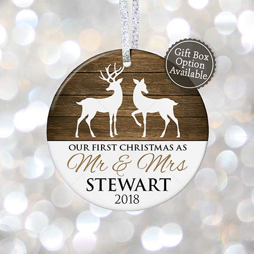First Christmas as Mr & Mrs Ornament 2018, Personalized Rustic 1st Christmas Married Ornament, First Married Gift - 3 Flat Circle Porcelain Ceramic Ornament - Gold & Silver Ribbon | PGM-OR-11a