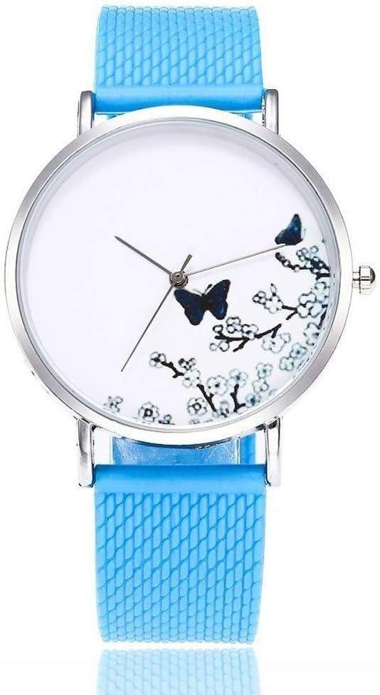 Relojes Reloj Watches Relojes De Pulsera Mujer Mariposa Y Flor Relojes Jelly Relojes De Pulsera De Silicona Relojes De Cuarzo-Azul