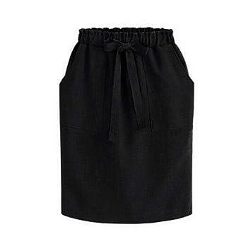 fatteryu Falda de Lazo Vintage para Mujer, Falda de algodón con ...