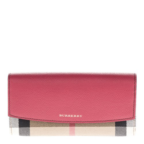 Burberry Women's House Check and Leather Continental Wallet Red