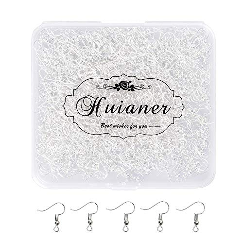 HUIANER Earring Hooks 500PCS Ear Wires Silver Plated 19mm with Ball and Coil for DIY Jewelry Making(Silver)