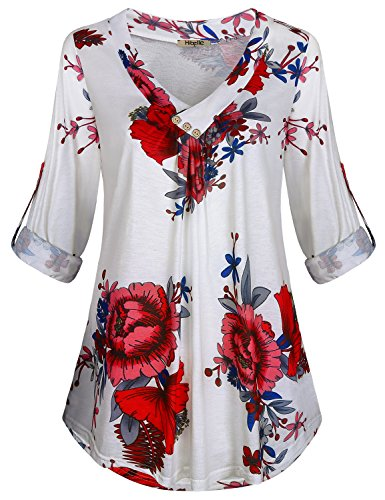 Hibelle Long Sleeve Blouses for Women, Floral Cross V Neck Pleated Tunic Tops 3/4 Roll-up Hip Length Hi-Low Shirts Jersey Knit Button Embellished Cozy Clothes Soft Surrounding White M