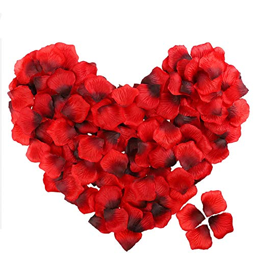 POAO 2500 PCS Durabel Artificial Flowers Romantic Silk Rose Petals Lightweight Table Confetti Flowers Wedding Party Decorations (Red)]()