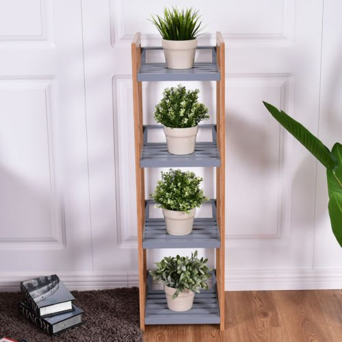 totoshop Multifunction Storage Tower Rack Shelving Shelf Units Stand Bamboo New 4 Tier by totoshop (Image #2)