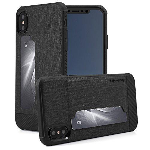 iPhone X Case, Luvvitt Gabbana iPhone X Case Card Holder Wallet Fabric Carbon Fiber Design iPhone X 10 (2017) - Black