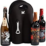 Insulated Beer Bottle 4 Pack Carrier with Opener, Fits 750ml, 22oz Bottles, Thick Neoprene Bag, Wine Tote