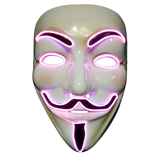 2017 Light Up EL LED V Face for Vendetta Movie Costume Guy Fawkes Anonymous Haloween Cosplay Mask (Purple) -