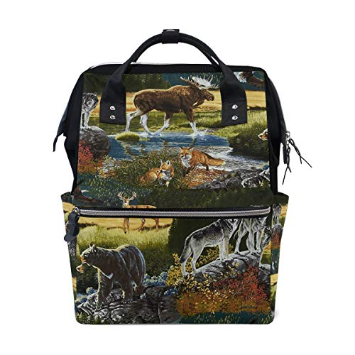 - Mountain Wildlife Nature Bear Moose Diaper Bag Multi-Function Travel Backpack Nappy Tote Bags for Mom & Dad Large Capacity