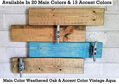 Farmhouse Coat Rack Wall Mount/Entryway Wooden Wall Hooks/Towel Hooks/Beach House Decor / - 20 Colors - 13 Accent Colors - Weathered Oak & Vintage Aqua Teal - Horizontal 3 Boat Cleats Hooks