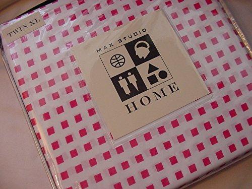 Max Studio Pink Squares on White Microfiber Sheet Set Twin
