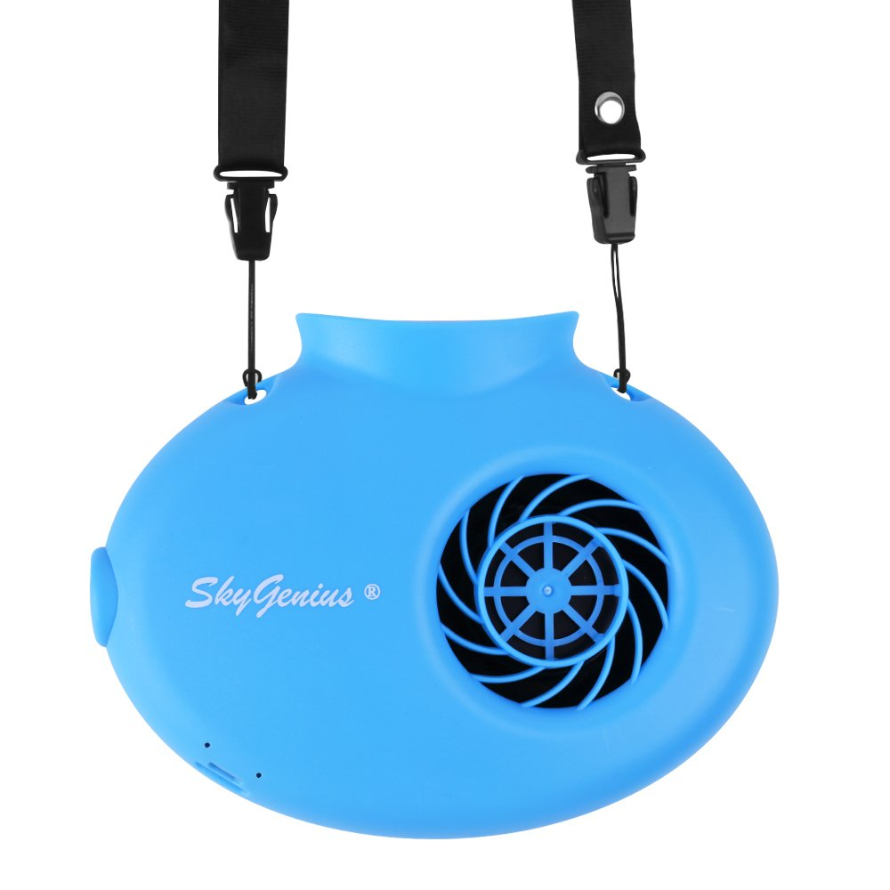 SkyGenius Battery Operated Necklace Fan, Mini Portable USB Rechargeable Fan Personal Cooling, Kids, Gift, Camping, Outdoor Event, Travel, Concerts, Church, Hot Flash (2018 New Version, Blue)