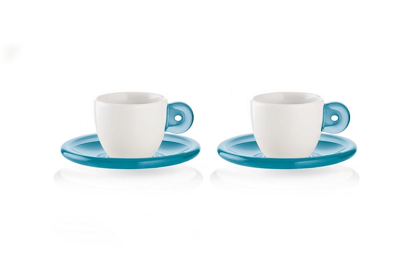 Porcellana Fratelli Guzzini Gocce Tazzine Caffe Azzurro Mare