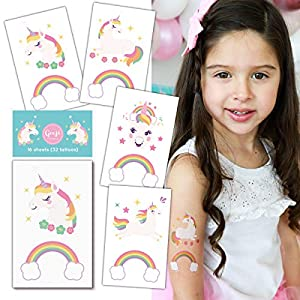 Gooji Unicorn Temporary Tattoos (16 sheets, 32 tattoos) Party Favors and Supplies for Children's Birthday | Fake, Non-Toxic, Skin Safe | Bright, Colorful Designs for Kids, Adults | Easily Removable