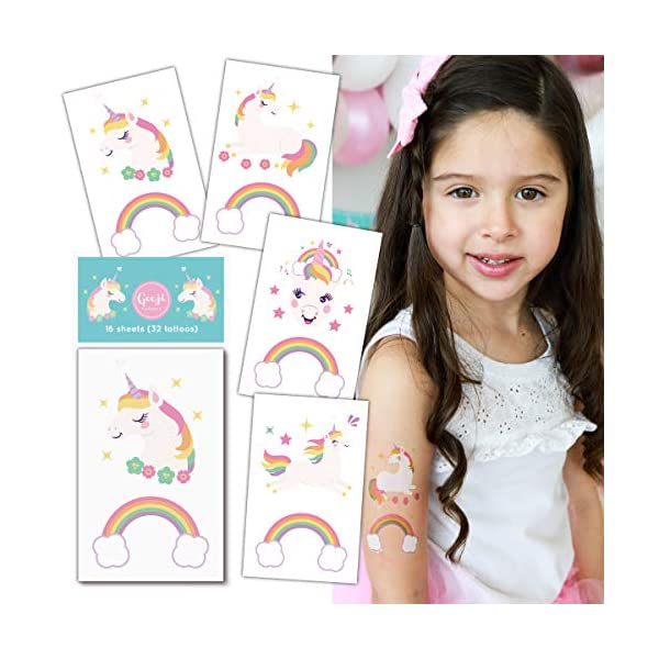 Gooji Unicorn Temporary Tattoos (16 sheets, 32 tattoos) Party Favors and Supplies for Children's Birthday | Fake, Non-Toxic, Skin Safe | Bright, Colorful Designs for Kids, Adults | Easily Removable 3