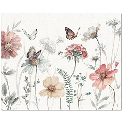 CounterArt 15 by 12-Inch Glass Cutting Board, Flowers and Butterflies