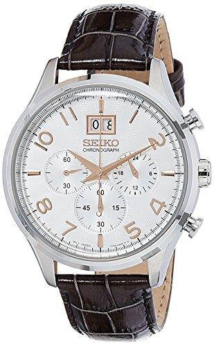 Seiko Silver Dial Chronograph Black Leather Mens Watch SPC087