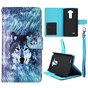 Wallet Snow Wolf LG Flex 2 LS996 Synthetic Leather Wallet Flip ID Pouch Credit Card Holder Case Cover Phone Case Snap on Sheild Protector Cover