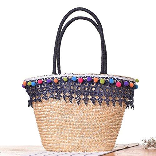 Vintage Rattan & Lace Women Bags Bolso De Hombro Grande con Un BalóN De Piel Bolsos De Asa Superior Bolsas De Lujo Bolsas De Compras 1 2
